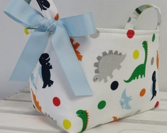 Fabric Storage Container Organizer Bin Basket Diaper Caddy - Multi Color Dinosaurs Dinos on White