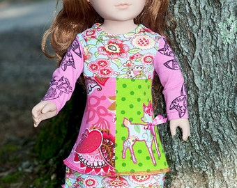 American handmade 18 inch girl doll jersey dress, Fall winter pink blue green doll dress, colorful long sleeve patchwork fox deer doll dress