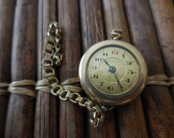 Vintage Watch CICO & Chain Gold Filled Non-working Steampunk upcycle part salvage