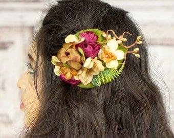 Flower Hair Clip, Boho Flower Fascinator, Boho, Woodland, Fall Colors, Rustic, Autumn, Brown, Burgundy, Ivory, Gold, Rockabilly, Pinup Girl