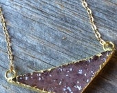 ROSE pink quartz triangle druzy crystal drusy gold filled necklace