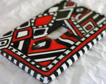 ALL DECKED OUT hand painted ceramic switch plate