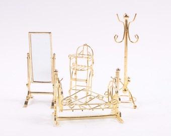 Vintage Brass Dollhouse Furniture - Mirror Coat Hook Furniture ~ Pink Room ~ 160912