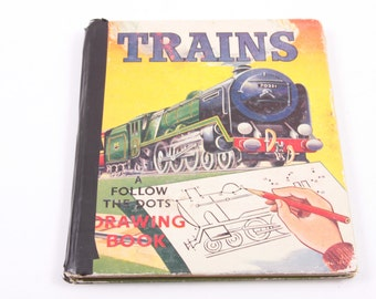 Trains - Follow the Dots - Dot to Dot - Vintage Connect the Dots Book - Coloring Book ~ The Pink Room ~ 170208
