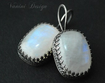 Rainbow moonstone,Fine/sterling silver earrings
