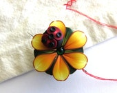Ladybug on a Sunflower Needle Minder, Needle Nanny