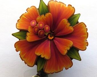 Orange Tropical Flower ID Badge Reel, Scissor Keeper, ID Lanyard, Scissor Fob