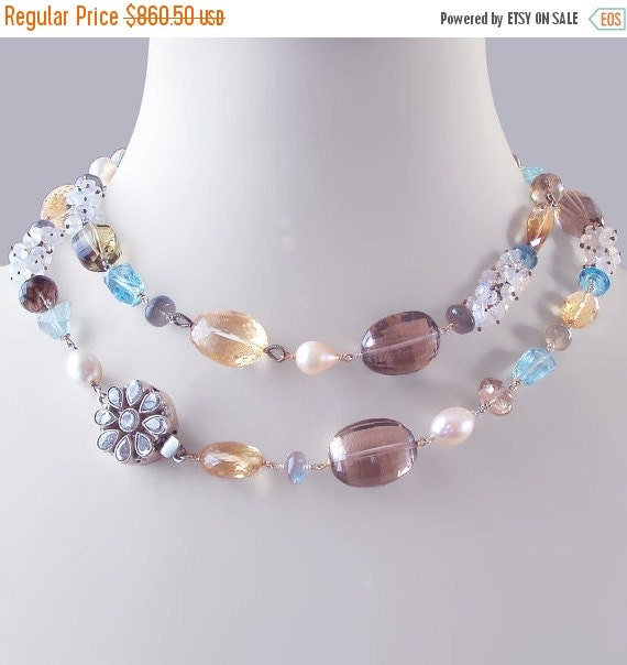 ON SALE 15% OFF Custom Made to Order - Statement Necklace with Citrine, Moonstone, Labradorite, and Pearls, and Ornate Box Clasp