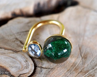 Aquamarine and Malachite Ring, Gold-Plated Sterling Silver, Resin Jewellery
