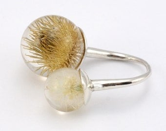 Dandelion and Thistle Ring, Sterling Silver Ring, Resin Jewellery