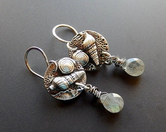 OOAK Silver Seashell and Faceted Blue Flash Labradorite Drop Earrings