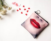 Bridesmaids Wedding Clutches, Red Lips Cosmetic Bag Clutch, Small makeup bag, Valentines day Gift for her