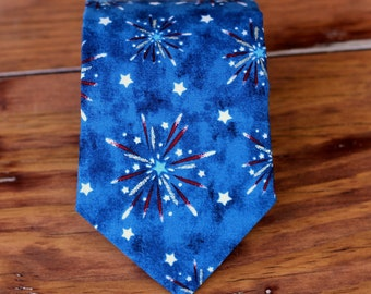 Boys 4th of July Necktie - Red White Blue Silver patriotic Fireworks Cotton kids Neck Tie - Pre-tied Adjustable - Baby Infant Toddler Child