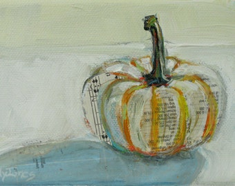 Singing Pumpkin original acrylic mixed media autumn painting by Polly Jones