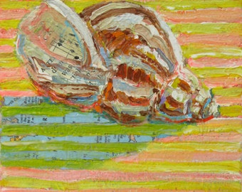 Shell on Yellow Stripes original acrylic still life painting by Polly Jones
