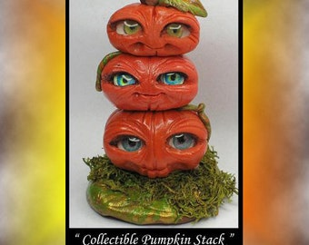 Fantasy Collectible miniature Pumpkin Stack DollHouse Polymer Clay OOAK Art