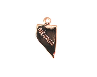 Engraved Tiny ROSE Gold Plated on Raw Brass Nevada State Charms (2X) (A427-D)