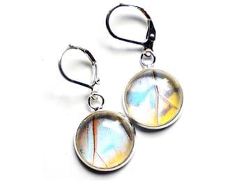 Real Butterfly Wing Earrings. Pearl Morpho Sulkowski. Insect Jewelry. Butterfly Dangle Earrings. Real Blue Morpho Butterfly Wing Jewelry.