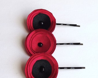 3 Red and Black Satin Mini Poppies Hair Pins