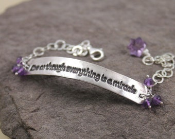 Live As Though - Fine Silver And Amethyst Bracelet