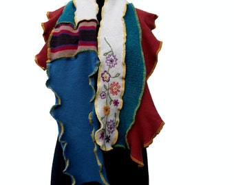SALE Whimsical Art To Wear Patchwork Scarf Ruffled Earthy Hues Recycled Wool Cotton Sweaters
