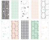 Antler Stars - Seamless Pattern Digital Download Prints - Set of 10 Paper Pack - jpeg files