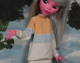 Sorbet Stripe Shirt for Large Slim Monster Dolls and MSD BJD