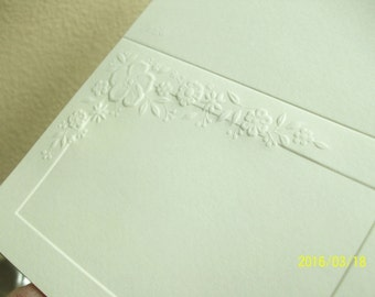 Lot of Embossed Blank Thank You Cards and Matching Envelopes