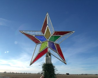 Stained Glass Tree Topper, Unique Christmas Star Toppers, Custom Tree Toppers, Handmade Multi Color Star