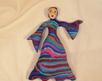 The GOOD WITCH fantasy cloth art doll form w/face cab 10 1/2 in. You finish her Bead Decorate