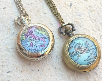 Custom Map Pocket Watch Necklace - Choose your location - Custom Map Jewelry Gift and Accessories - Pocketwatch Style Necklace
