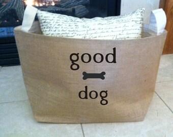 large personalized  lined burlap dog toy basket , burlap storage tote, good dog