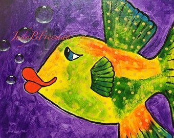 Fish Painting Whimsical Acrylic on 20 x 20 inch Canvas Spotted Boxfish Ready to Ship Home Decor Wall Art PTG006