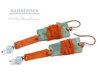 Hammered Earrings with Sari Silk, Gypsy, Boho E864