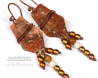 Hammered Rustic Copper Earrings E922