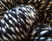 Starry Skies Maine. Handspun dyed sheep wool silk green Romney fleece black grey 3ply yarn handmade knitting crochet fiber art