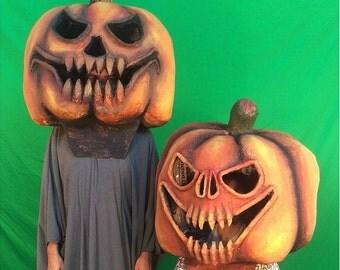 2 Giant pumpkin heads masks paper mache