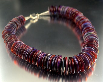 Double Amber Purple Boro Disk Bead Necklace