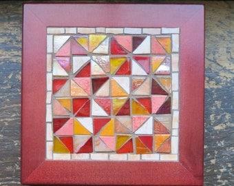 Red and Orange Geometric Pattern Mug Mat