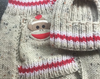 Sock Monkey Sweater Set for small dogs