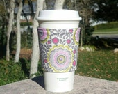 FREE SHIPPING UPGRADE with minimum -  Fabric coffee cozy / cup sleeve / coffee sleeve / drink cozy - Gray and Pink Blossoms