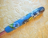 Polymer Clay Floral Covered Crochet Hook, Boye, Size G,  Just the Blues