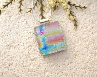 Petite Dichroic Jewelry. Rainbow Necklace,  Pink Blue Gold Necklace, Fused Glass Jewelry, Dichroic Pendant, Silver Necklace 020816p101