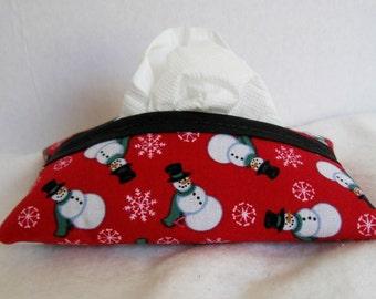 Snowman Tissue Holder - Snowmen Tissue Cozy - Winter Tissue Cover - Purse Tissue Cover - Red Holiday Tissue Case - Snowman Hanky Holder