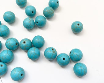 15 Loose Beads- 12mm Turquoise Howlite Gemstone Beads - Blue Beads