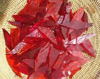 Assorted Red Glass Shards for Mosaic Art Designing