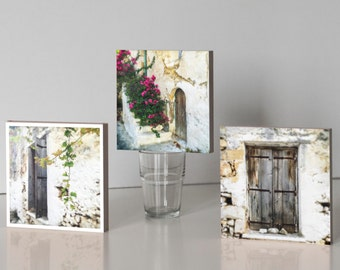 Three Photo Blocks - Greek Village House, vine leaf, pink flowers 14.5cm square freestanding, stacking, home decor, gift under 50