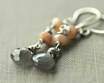 Grey Moonstone Earrings, Pink Peruvian Opal, Moonstone Jewelry, Opal Earrings, Sterling Silver Jewelry, Long Earrings, Sugar Rococo