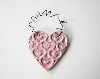 Pink Heart Valentine Ornament - one ceramic clay heart - handmade, ready to mail