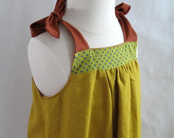 Mustard Yellow Linen Toddler Girls Summer Sundress - Baby Dress - Toddler Dress - Yellow with Polka Dot Bodice and Rust Ties - Linen Dress